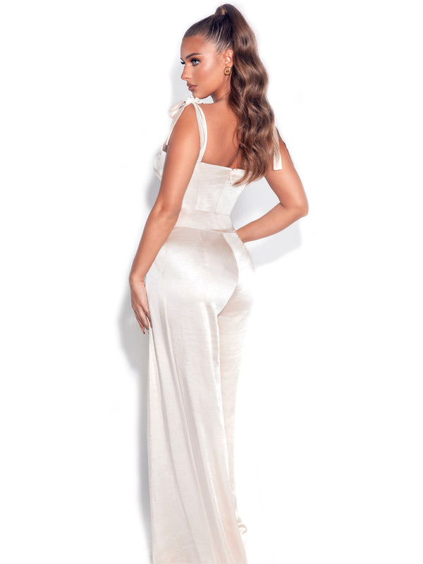 Caprice Beige Satin Corset Jumpsuit With Shoulder Straps Tie