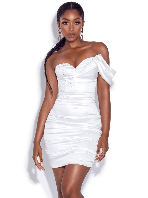 Molly White Crystallized Draped Satin Dress