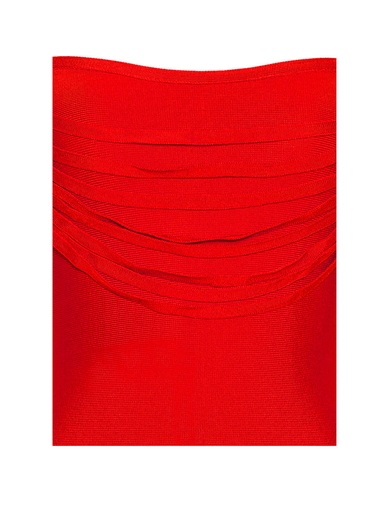 Pyria Red Fringe Off Shoulder Bandage Dress - Miss Circle