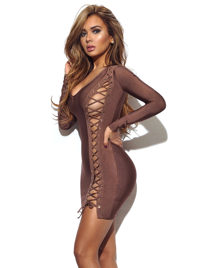 Tatianna Coffee Lace Up Detail Long Sleeve Bandage Dress
