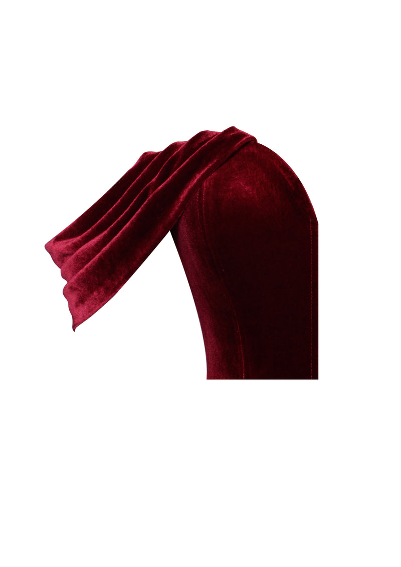 Yaz Burgundy Draped Off Shoulder Velvet Bodysuit