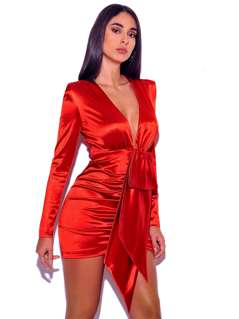 Tatiana Deep Red V Square Shoulder Stretch Satin Long Sleeve Mini dress - Miss Circle