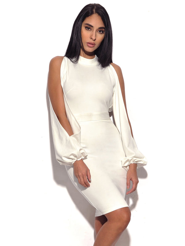 Valentina White Cut Out Sleeve Stretch Crepe Dress - Miss Circle