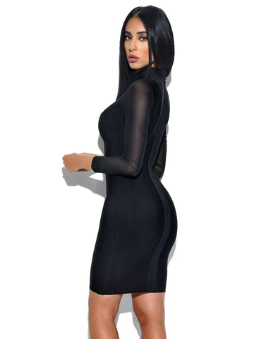 Rachel Sheer Cut Out Detail Long Sleeve Bandage Dress