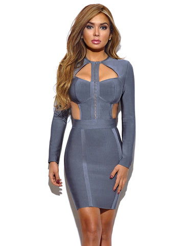 Ximena Cutout Detail Grey Long Sleeve Bandage Dress