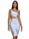 Pilar Ice Blue Asymmetric Cutout Detail Bandage Dress