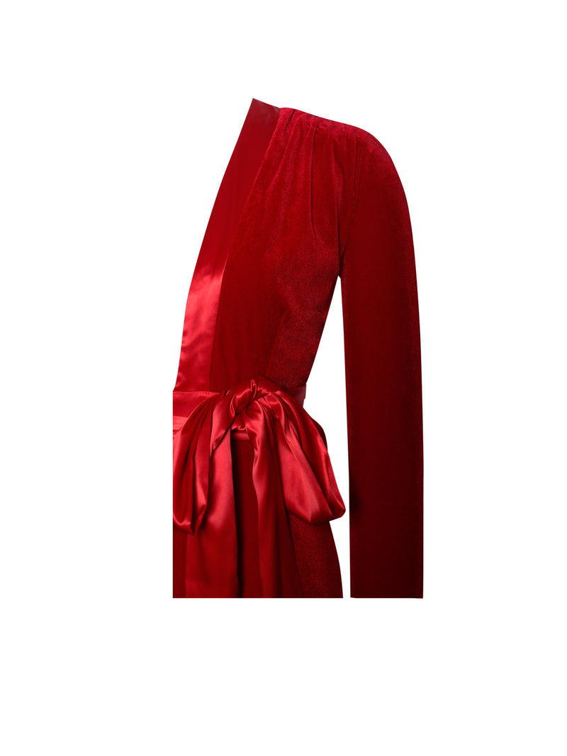 Glorious Red Long Sleeve Velvet Jumpsuit - Miss Circle