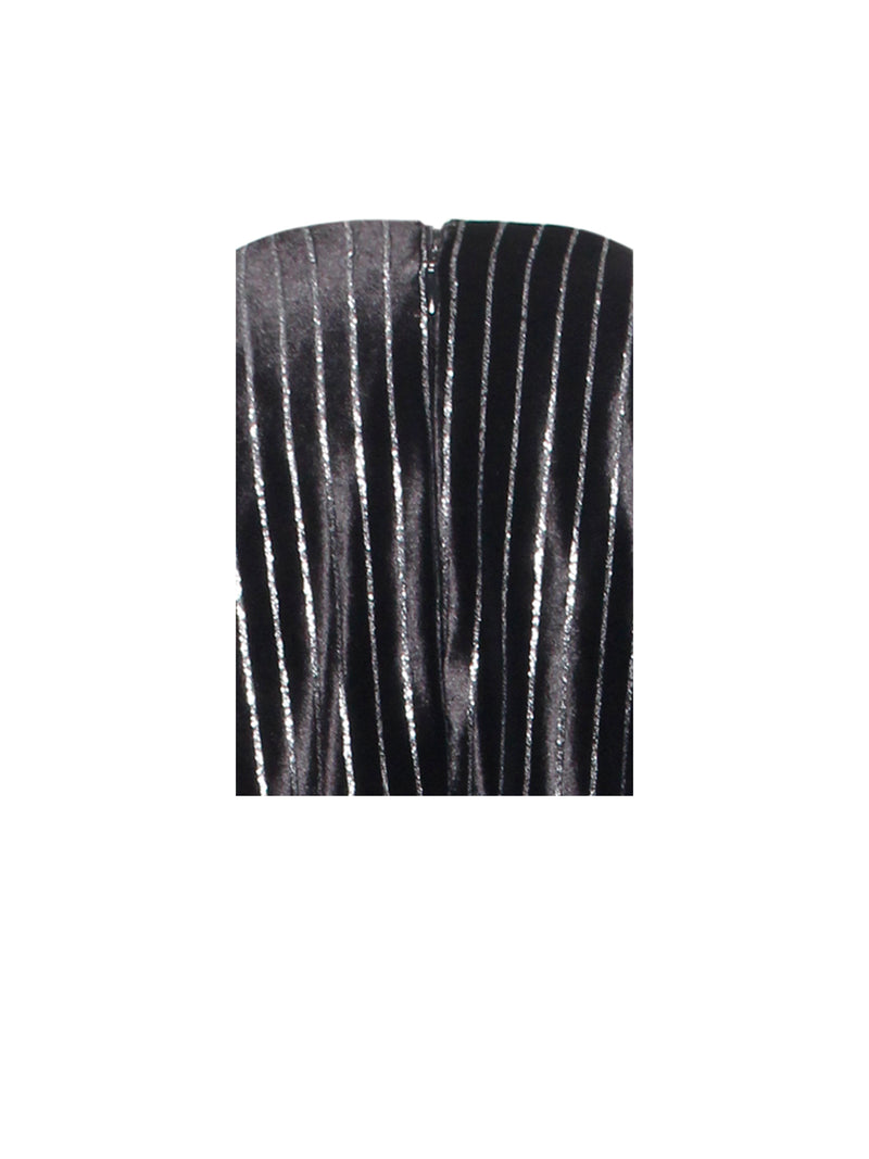 BBC Time To Shine Black Silver Sparkling Stripe Velvet Draped Dress - Miss Circle
