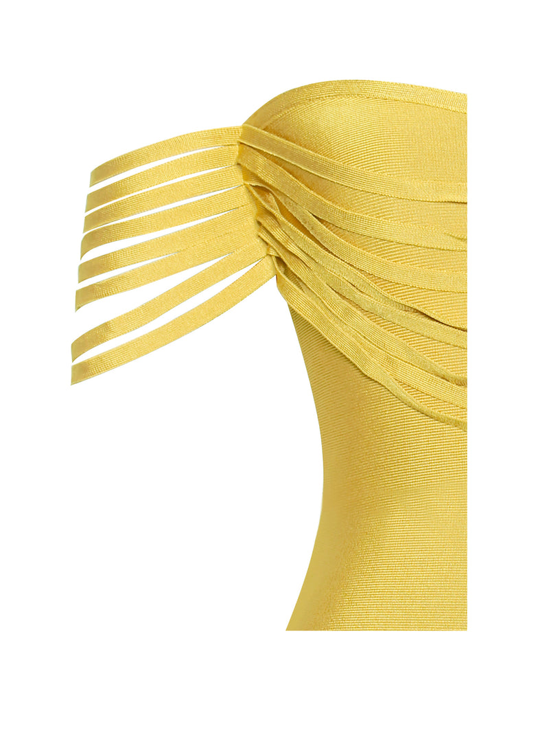 Labelle Yellow Fringe Off Shoulder Bandage Dress - Miss Circle