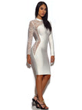 Sydney Asymmetric Sheer Lace Sleeve Bandage Dress