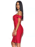 Rosanna Ruby Pink Off Shoulder Bandage Dress