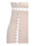 Tehya Beige Lace Up Detail Suede Bodycon Dress