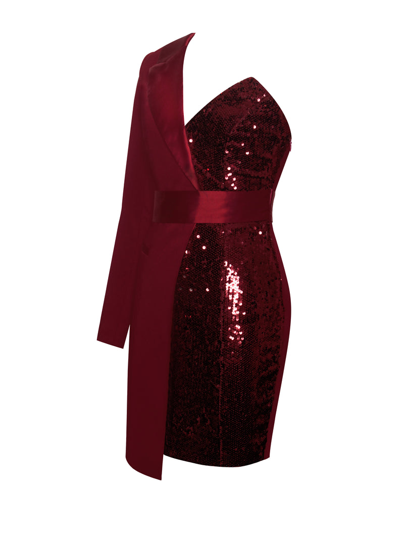 Silver Night One Sleeved Wine Sequin Crepe Tuxedo Blazer Dress - Miss Circle