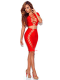 Nora Red Lace Up Detail Two Piece Bandage Dress Preorder