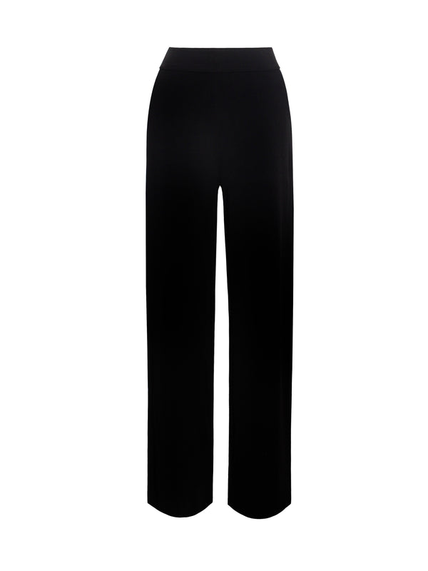 Never Enough Black Stretch Crepe Wide Leg Trousers