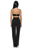 Ilona Black Chain Detail Two Piece Stretch Crepe Pantsuit
