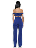 Lalaine Blue Off Shoulder Two Piece Pantsuit