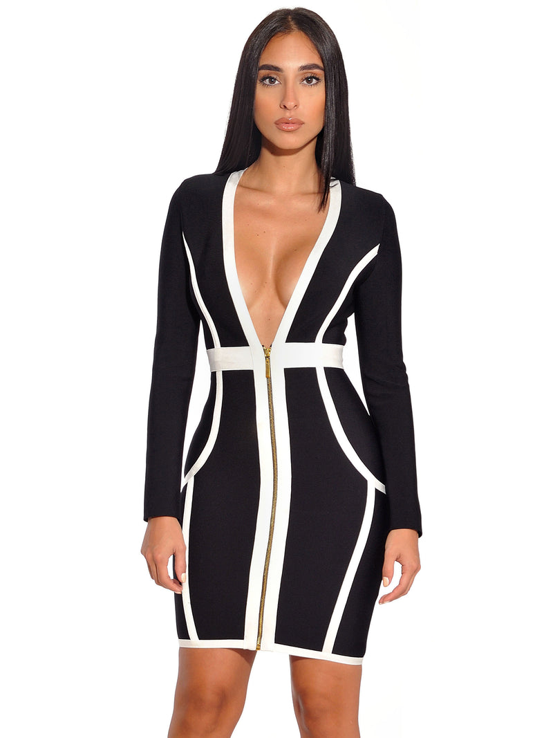Dawson Front Zip Deep V Long Sleeve Bandage Dress - Miss Circle