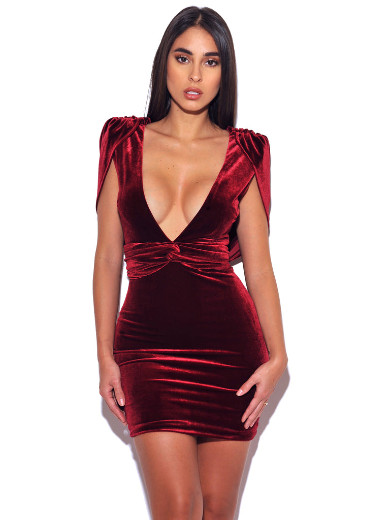 Indiana Velvet Burgundy Velvet Low V Cut Open Back Dress - Miss Circle