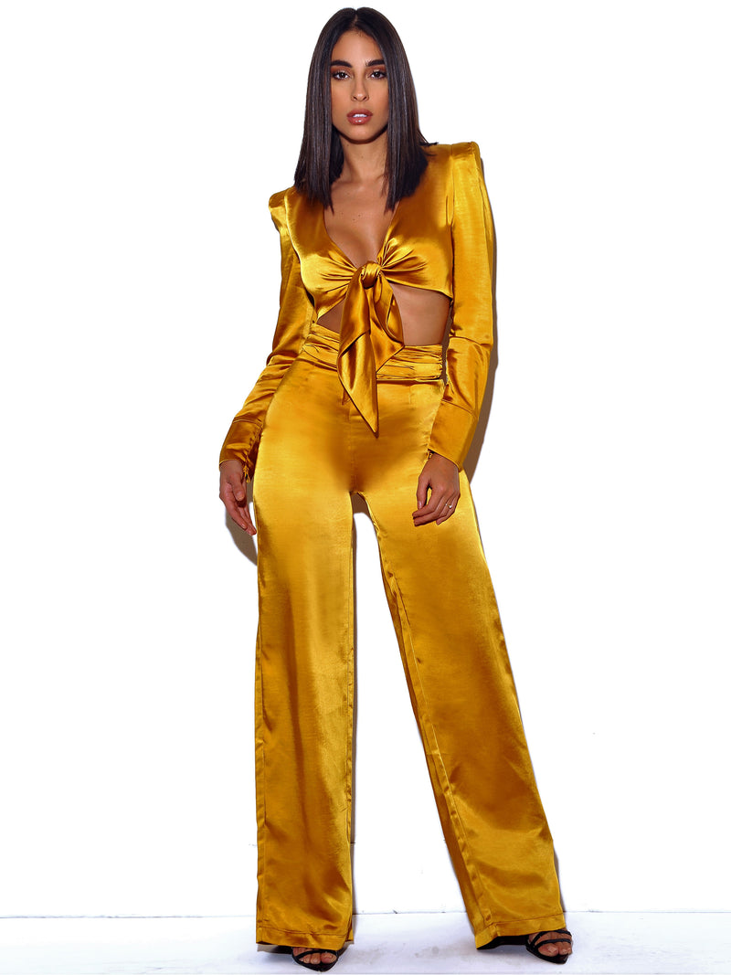 Nellie Wide Leg Satin Ruched High Waisted Pants - Miss Circle