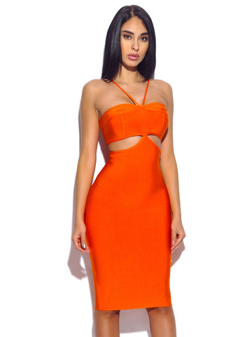 Heidi Halter Top Cutout Detail Bandage Dress