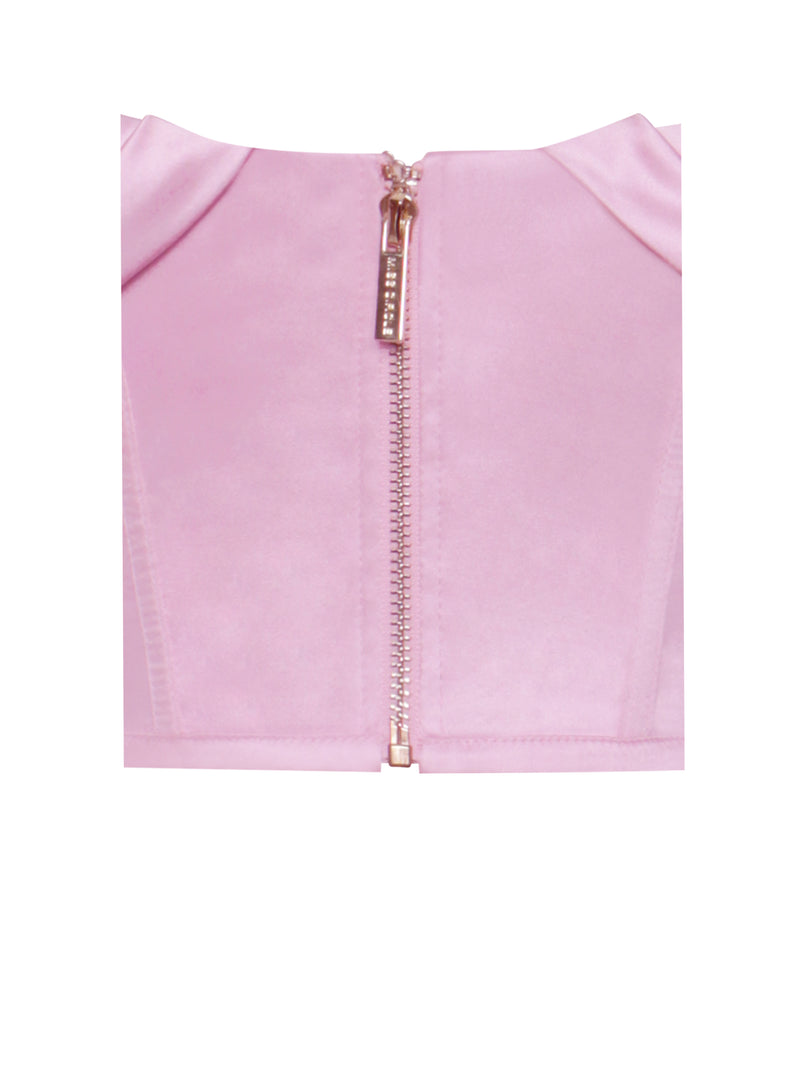 Xana Pink Satin Off Shoulder Corset Top
