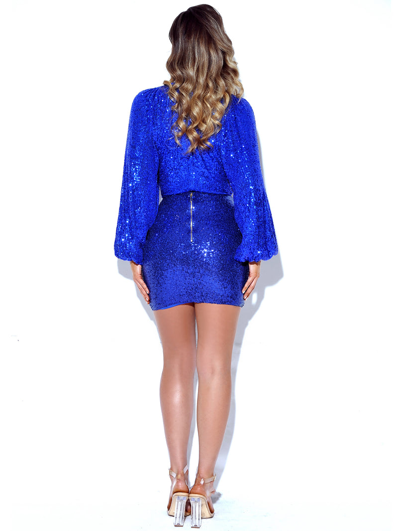 Dream Of Blue Sequin Mini Skirt - Miss Circle