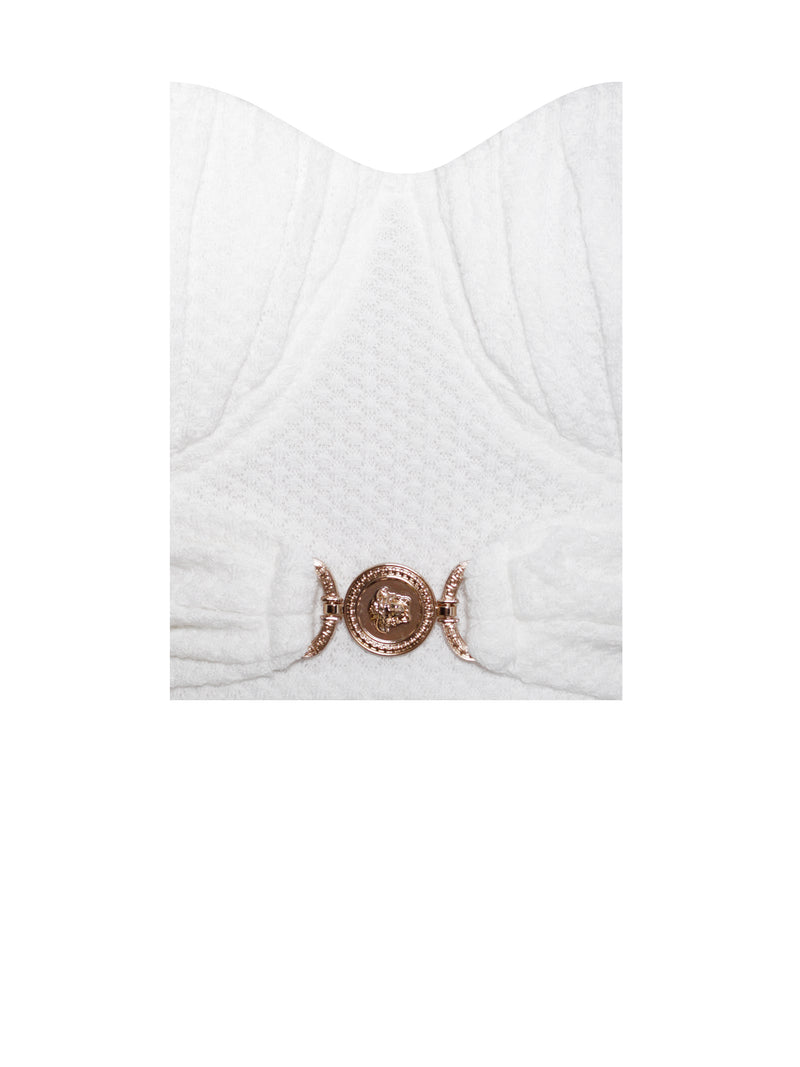 Be With Me White Stretch Knit Corset Top