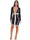 Dawson Front Zip Deep V Long Sleeve Bandage Dress