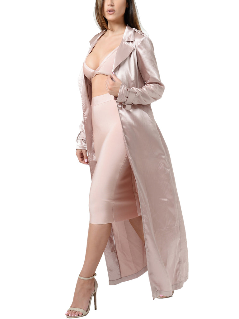 Giovanna Satin Pink Summer Coat with Tie