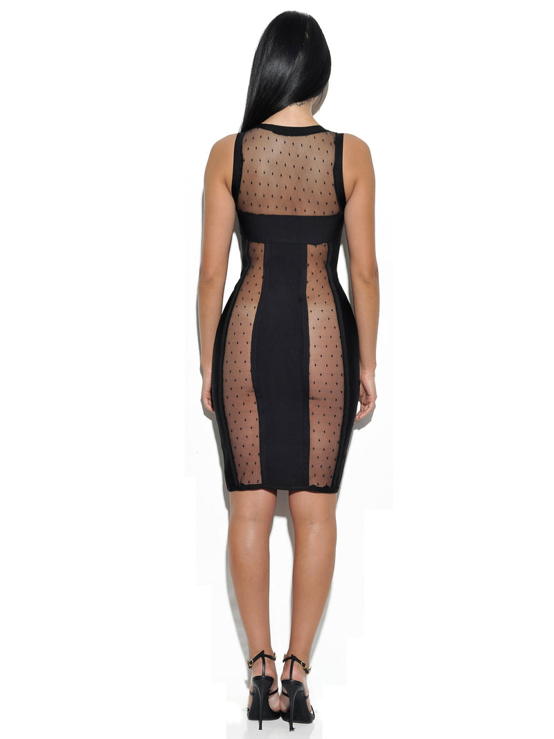 Harlow Sheer Cut Out Front Zip Bandage Dress - Miss Circle