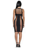 Harlow Sheer Cut Out Front Zip Bandage Dress