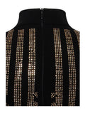 Vida Royal Crystal Pattern Detail Stretch Crepe Dress