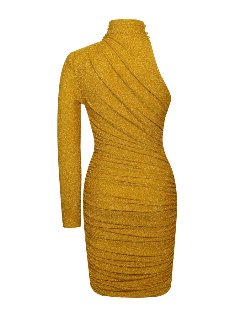 Starlight Gold Metallic One Sleeve Dress - Miss Circle