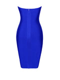 Mabel Sheer Cutout Detail Blue Strapless Bandage Dress