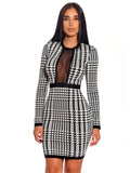 Paz Houndstooth Print Long Sleeve Jacquard Bandage Dress