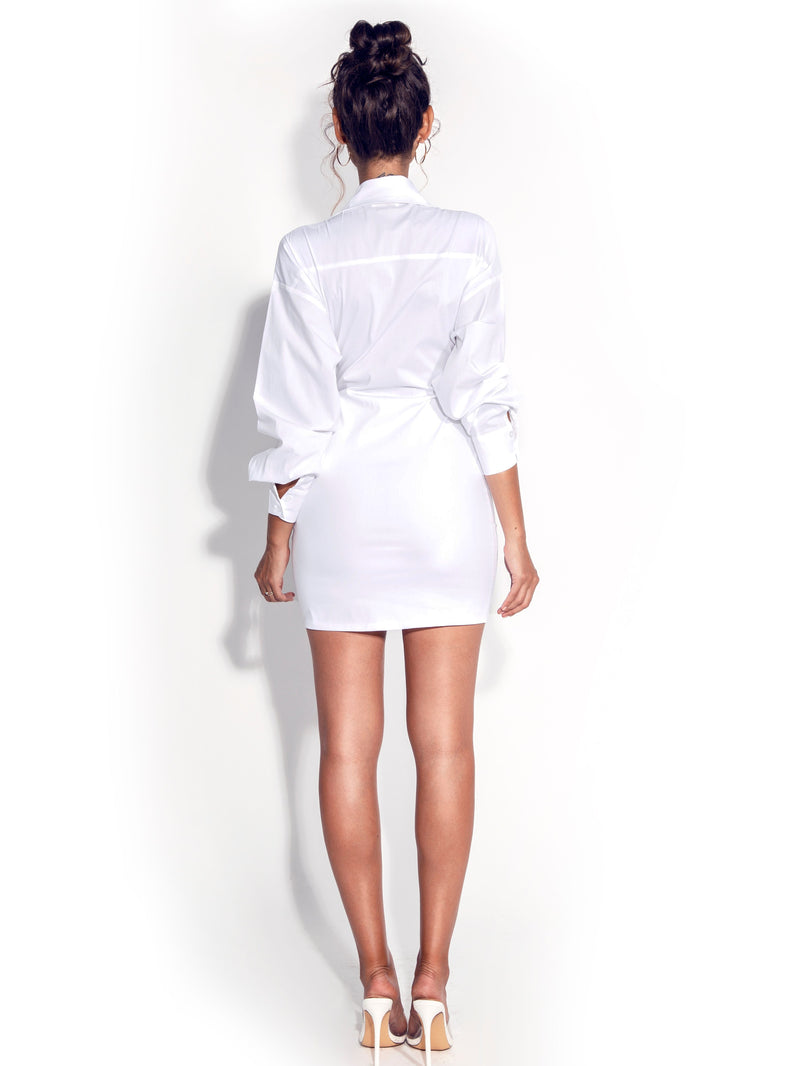 Rivy Tie Front White Shirt Dress