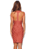 Neha Indian Red Criss Cross Halter Top Keyhole Bandage Dress
