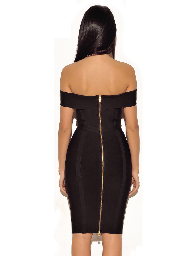 Rosanna Gold Chain Detail Black Off Shoulder Bandage Dress - Miss Circle