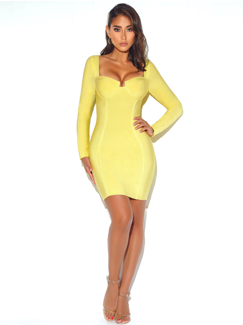 Just For You Long Sleeve Bandage Dress In Lemon