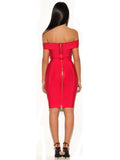 Rosanna Gold Chain Detail Ruby Pink Off Shoulder Bandage Dress