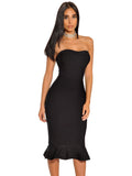 Dagmara Black Strapless Mermaid Flared Bandage Dress - Miss Circle