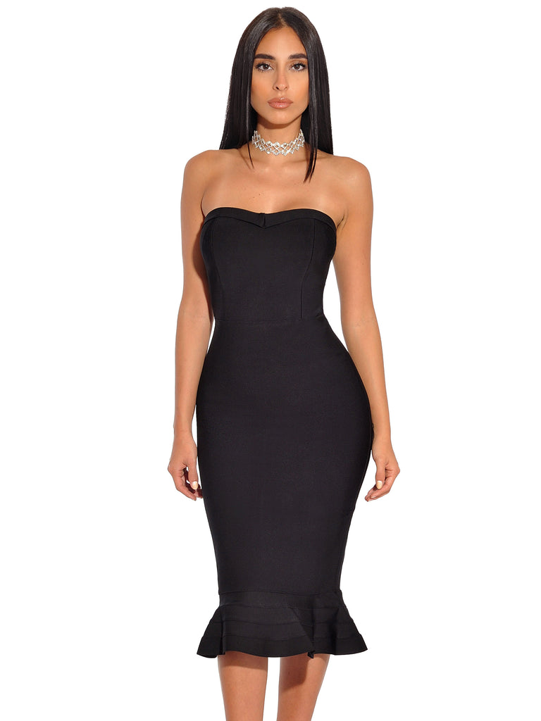 Dagmara Black Strapless Mermaid Flared Bandage Dress