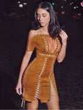 Tehya Lace Up Detail Suede Bodycon Dress