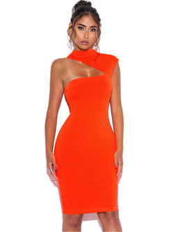 Jolene Orange Asymmetric Neck Cutout Detail Stretch Crepe Dress - Miss Circle