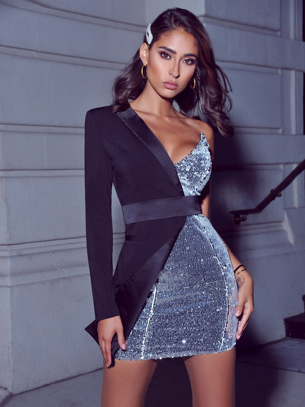 Silver Night One Sleeved Sequin Crepe Tuxedo Blazer Dress (Pre-order In 3 Weeks) - Miss Circle