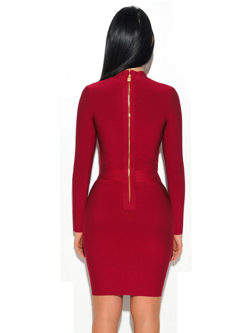 Melrose High Neck Bustier Long Sleeve Bandage Dress - Miss Circle