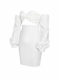 Reagan White Off the Shoulder Stretch Crepe Cut Out Dress