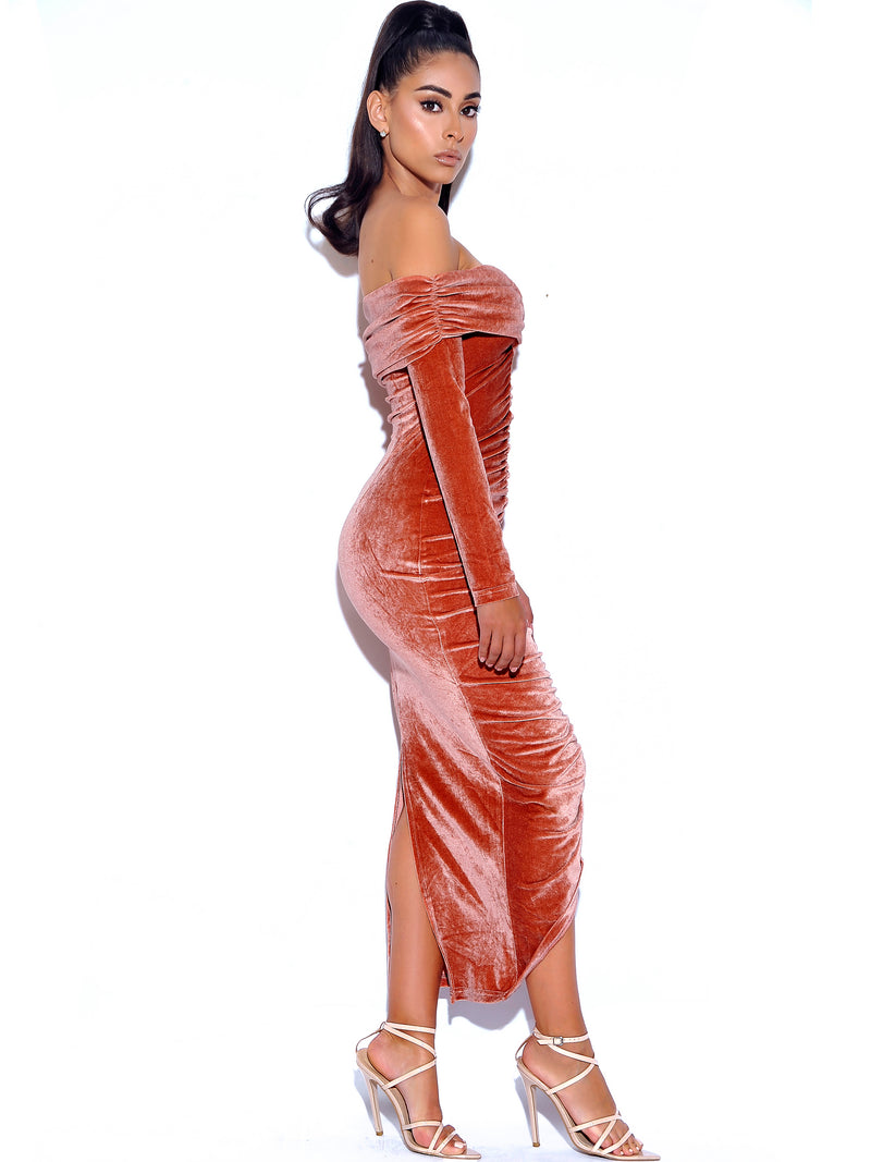 Taste Of Heaven Salmon Pink Ruched Velvet Maxi Dress - Miss Circle