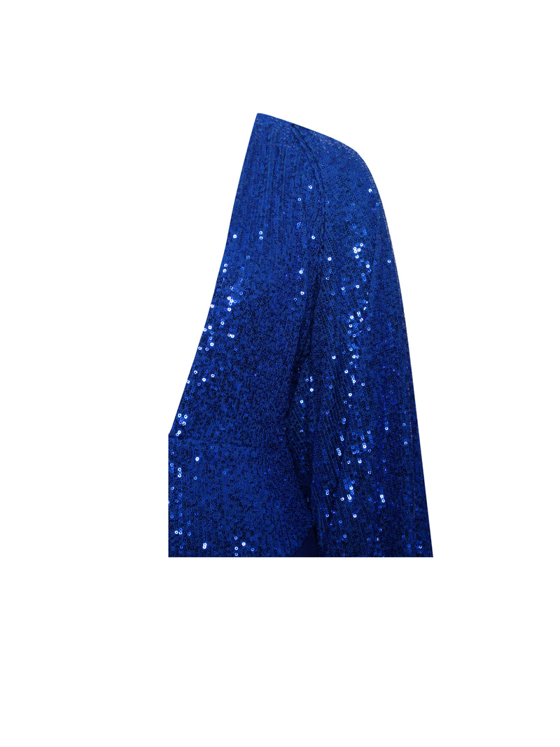 Dream Of Blue Deep V Sequin Puff Sleeve Bodysuit - Miss Circle
